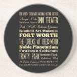 Fort Worth City of Texas State Typography Art Drink Coasters