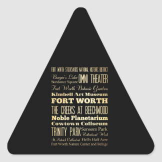 Fort Worth City of Texas State Typography Art Triangle Sticker