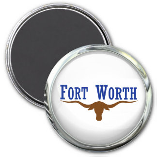 Fort Worth Flag Glass Ball 3 Inch Round Magnet