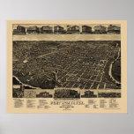 Fort Worth, mapa panorámico de TX - 1886 Póster