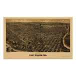 Fort Worth, mapa panorámico de TX - 1891 Póster