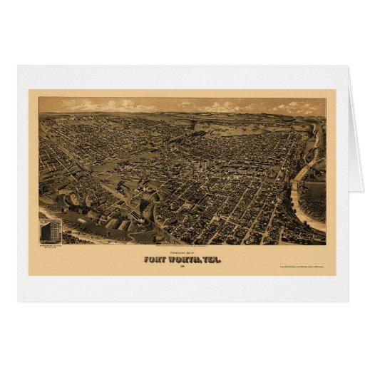 Fort Worth, mapa panorámico de TX - 1891 Tarjeta De Felicitación