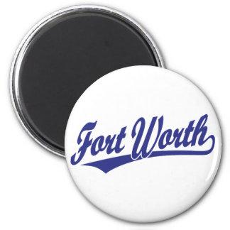 Fort Worth script logo in blue 2 Inch Round Magnet