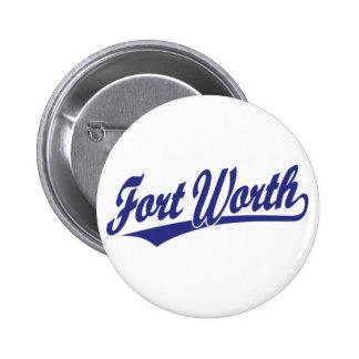 Fort Worth script logo in blue Button