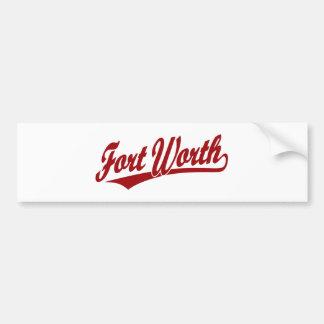Fort Worth script logo in red Car Bumper Sticker