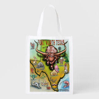 Fort Worth Texas Cartoon Map Grocery Bags