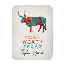 Fort Worth Texas Colorful Longhorn Magnet