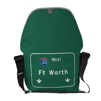 Fort Worth Texas tx Interstate Highway Freeway : Messenger Bag