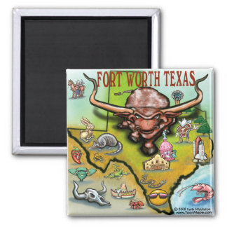 Fort Worth TX 2 Inch Square Magnet