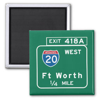 Fort Worth, TX Road Sign 2 Inch Square Magnet