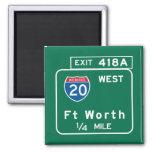 Fort Worth, TX Road Sign Refrigerator Magnet