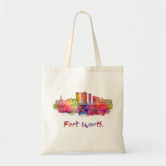 Fort Worth V2 skyline in watercolor Tote Bag