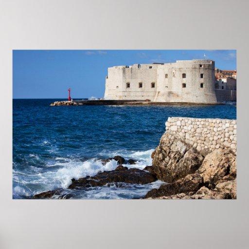 Fortalecimiento y bahía de Dubrovnik Poster