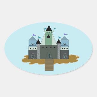 Fortaleza del castillo pegatina ovalada