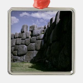 Fortaleza Incan de Sacsahuman Adorno Cuadrado Plateado