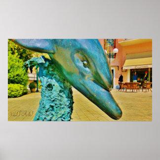 Forte dei Marmi Plaza Dolphin, Poster Print