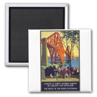 Forth Bridge - Vintage Travel Poster Art 2 Inch Square Magnet