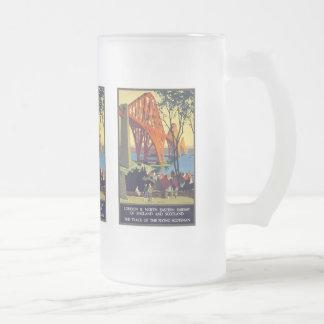 Forth Bridge - Vintage Travel Poster Art Frosted Glass Beer Mug