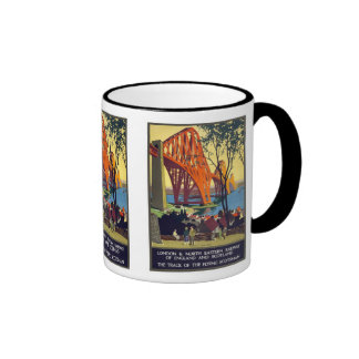 Forth Bridge - Vintage Travel Poster Art Ringer Coffee Mug