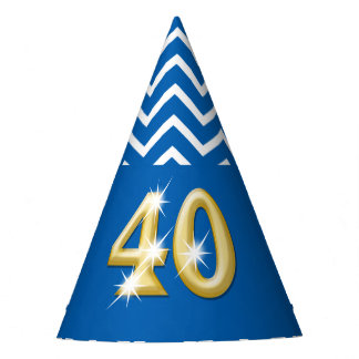 Fortieth 40th birthday blue chevron pattern party hat