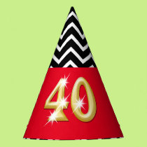 Fortieth 40th birthday red gold black white party hat
