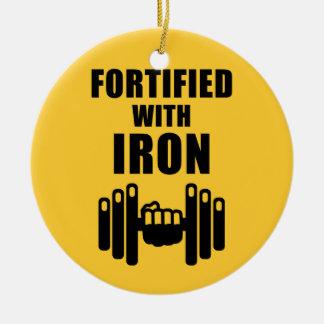 Fortificado con hierro adorno navideño redondo de cerámica