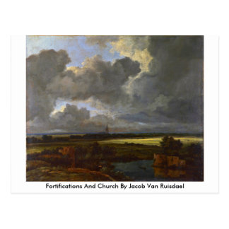 Fortifications And Church By Jacob Van Ruisdael Postcard