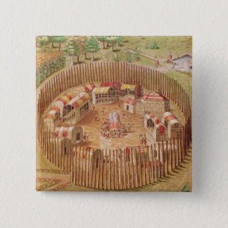 Fortified Indian Village, from 'Brevis Button