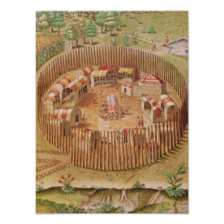 Fortified Indian Village, from 'Brevis Poster