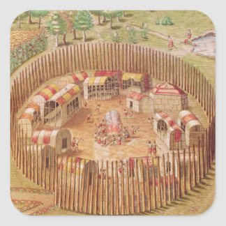 Fortified Indian Village, from 'Brevis Square Sticker