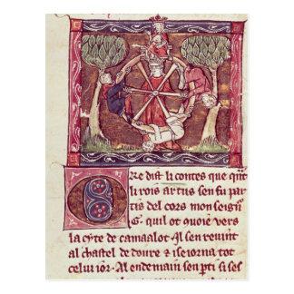 Fortuna ciega de la diosa con rey Arturo Postal