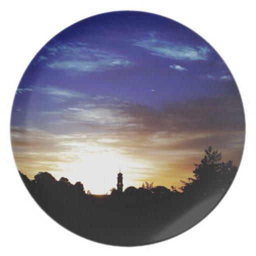 Fortuna de Europes de la puesta del sol Plato De Cena