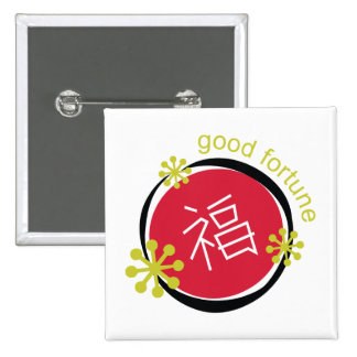 Fortuna del símbolo del carácter chino buena pins