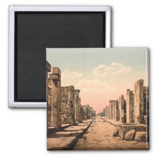 Fortuna Street, Pompeii, Campania, Italy 2 Inch Square Magnet