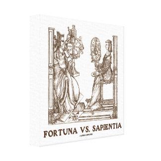 Fortuna vs Sapientia (16th Century Wood Engraving) Canvas Print