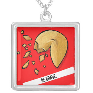 Fortune Cookie - Be Brave Square Pendant Necklace