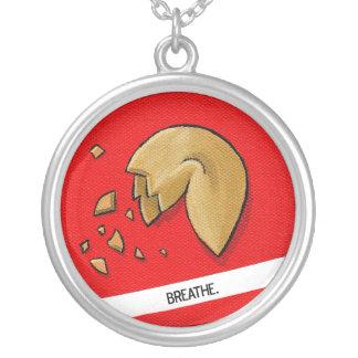 Fortune Cookie: Breathe Round Pendant Necklace