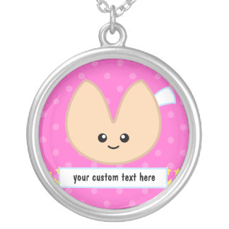 Fortune Cookie Fortune - customizable! Round Pendant Necklace