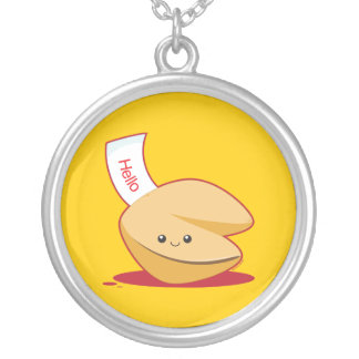 Fortune Cookie Round Pendant Necklace
