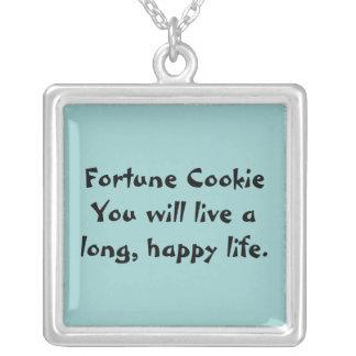 Fortune Cookie Square Pendant Necklace