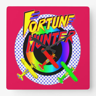Fortune Hunter Airbourne Red Square Wall Clock