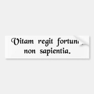 Fortune, not wisdom, rules lives. bumper sticker