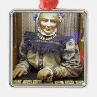Fortune Teller from Santa Cruz Boardwalk Square Metal Christmas Ornament