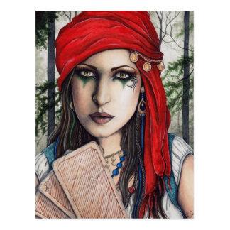 Fortune Teller Gypsy Tarot Art Postcard