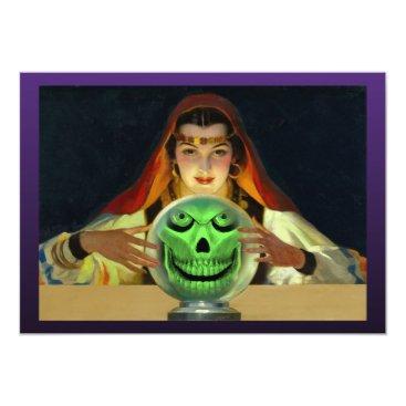 halloweenvintage Fortune Teller Halloween Party Invitations