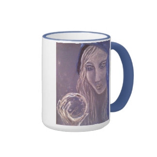 Fortune teller holding a crystal ball coffee mug. ringer mug
