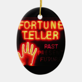 Fortune Teller - Past Present & Future Double-Sided Oval Ceramic Christmas Ornament