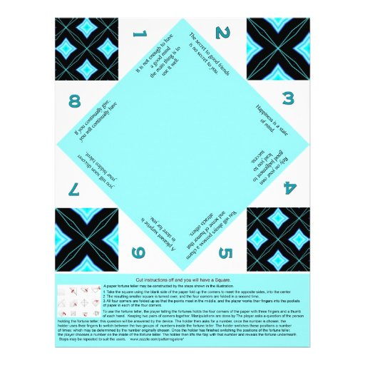 Fortune teller with a black and turquoise pattern letterhead