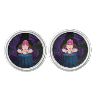 Fortune Teller's Tent with magical crystal ball. Cufflinks