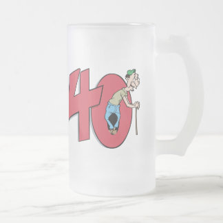 Forty - 40 year old Birthday Greeting Frosted Glass Beer Mug